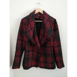 Lane Bryant Red Black Tweed Jacket Blazer 14/16